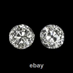 0.82ct H-I VS1-SI1 OLD EUROPEAN CUT DIAMOND STUD EARRINGS PAIR VINTAGE ANTIQUE