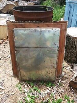 100+ year old Vintage Detroit Wood Medicine Cabinet Insert with Beveled Mirror