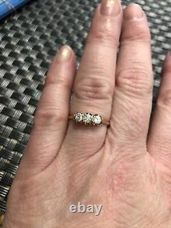 14k Victorian 3 Stone Diamond Old European Miners Cut Belcher Engagement Ring