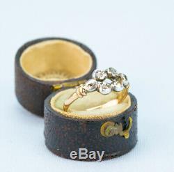 1790 Ring 6 Old Cut Diamonds Gold Silver Set Antique English Georgian Vintage