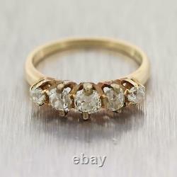 1890's Antique Victorian 14k Yellow Gold 1ctw Old Mine Cut Diamond Wedding Band
