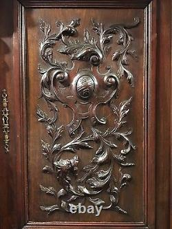 1890s Antique French Walnut Renaissance Carved Buffet Sideboard Cabinet Nice Old
