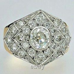 18K Yellow Gold Platinum Old Mine Cut Diamond Antique Ring Geometric Chevron