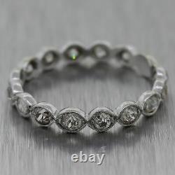 1920's Antique Art Deco Platinum 1ctw Old Mine Cut Diamond Band Ring