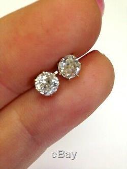 1.03CT Old Mine Cut Diamond Stud Earrings 10K Yellow Gold Antique
