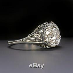 1.40ct ANTIQUE OLD MINE CUT DIAMOND ENGAGEMENT RING 18K VINTAGE SOLITAIRE ESTATE