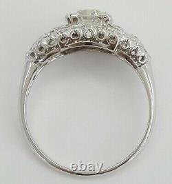1.55 ct Antique Art Deco Platinum Old European Cut Diamond Engagement Ring GIA