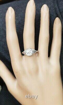 1.55ct Platinum Vintage engagement RING ROUND OLD MINE CUT Diamond SI2-H