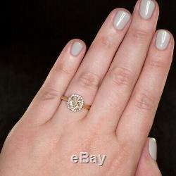 1.65ctw ANTIQUE OLD MINE CUT CUSHION YELLOW DIAMOND VINTAGE HALO ENGAGEMENT RING