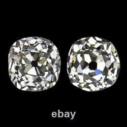 1.79c OLD MINE CUT DIAMOND STUD EARRINGS I-J VS1-SI2 ANTIQUE PAIR VINTAGE 1.75ct