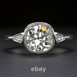 1.84c OLD MINE CUT DIAMOND ENGAGEMENT RING PLATINUM ANTIQUE VINTAGE BEZEL 1.75ct