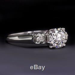 1 Carat Antique F Si2 Old European Cut Diamond Platinum Engagement Ring Vintage