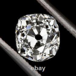 1ct OLD MINE CUT DIAMOND F COLOR CUSHION BRILLIANT ANTIQUE VINTAGE LOOSE NATURAL