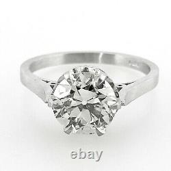 2.01 ct Vintage Antique Old European Cut Diamond Engagement Ring In Platinum