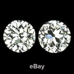 2.21ct I VS2 CERTIFIED OLD EUROPEAN CUT DIAMOND STUDS VINTAGE EARRINGS ANTIQUE