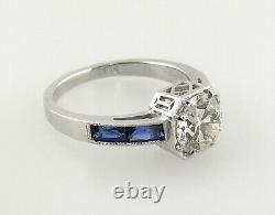 2.30 ct Vintage Antique Old European Cut Diamond Engagement Ring In Platinum