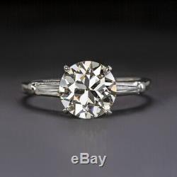 2 Carat Vintage J Vs1 Diamond Platinum Engagement Ring Old Cut Antique Baguettes