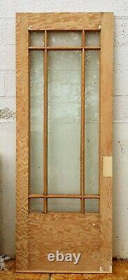 32x79x1.75 Antique Vintage Old Wood Wooden Entry Door 9 Window Beveled Glass
