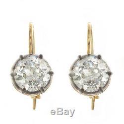 4.00ct ttw Old European Cut Antique Diamond Earrings