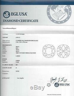 ANTIQUE 1ct OLD MINE EUROPEAN CUSHION CUT DIAMOND H SI2 CERTIFIED LOOSE VINTAGE