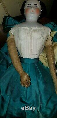 ANTIQUE GERMAN FLAT TOP CHINA HEAD DOLL 18 1/2 old body leather arms hands