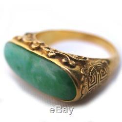 ANTIQUE VINTAGE Old 22K Solid GOLD JADE Gemstone Green STONE Saddle RING Marked