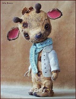 Alla Bears artist Old Antique Vintage Giraffe Teddy Bear art doll OOAK baby cute