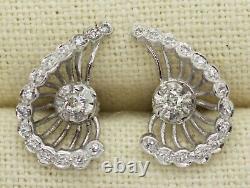 Antique 14k White Gold 0.70ct Old Mine Cut Diamond Screw Back Earrings