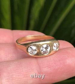 Antique 14k Yellow Gold 1.39ct Old European Cut Diamond Gypsy 3 Stone Men's Ring