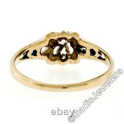 Antique 14k Yellow Gold Old Mine Cut Diamond Belcher Solitaire Engagement Ring