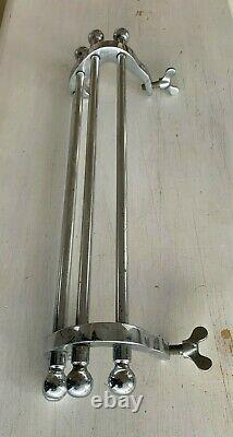 Antique 15 Chrome Brass Sink Towel Bar Rack Clamp On Vtg Bathroom Old 24-21J