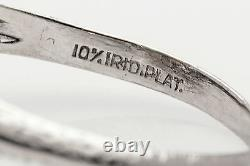 Antique 1920s 1.50ct VS H Old Mine Cut Diamond Sapphire Platinum Filigree Ring