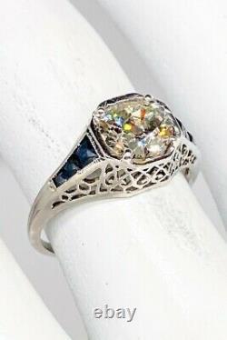Antique 1920s $20,000 2ct Old Euro Diamond Blue Sapphire Platinum Filigree Ring