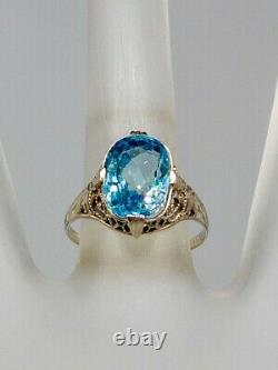 Antique 1920s $3000 5ct Natural Old Cut Blue Zircon 14k White Gold Filigree Ring