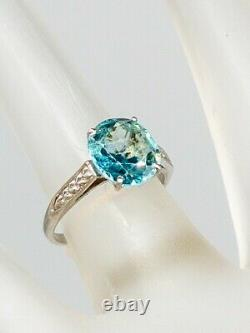 Antique 1920s $3400 5ct Old Mine Cut Natural Blue Zircon Platinum Wedding Ring
