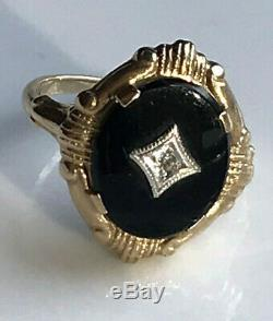 Antique 19th c 10k GoldOld Mine Diamond ChipFiligreeOnyx Mourning Ring 5.25