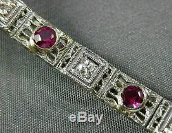 Antique 1.12ct Old Mine Diamond & Aaa Ruby 14k White Gold Open Filigree Bracelet