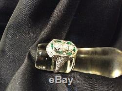 Antique 1ct Old Euro Diamond Emerald 18k White Gold Filigree Ring Size 8