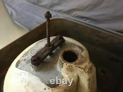 Antique 24 Cast Iron White Porcelain Pedestal Sink Old Vtg Bathroom 220-19E