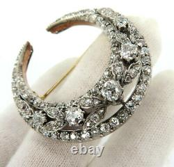 Antique 6.0ct Old Mine Cut Diamond Silver & 14K Gold Crescent Moon Brooch Pin