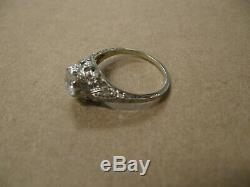 Antique Art Deco 18k White Gold. 75ct. Old Mine Cut Diamond Filigree Ring