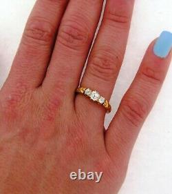 Antique Art Nouveau 3 Old Mine Cushion Cut Diamonds Floral 18K Yellow Gold Ring