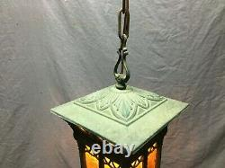 Antique Brass Vintage Hanging Ceiling Light Amber Stained Glass Old 371-21B