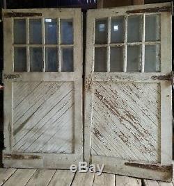 Antique Carriage Door set measure 96 x 96 overall vtg. Barn, garage old paint