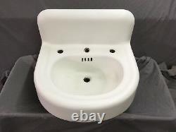Antique Cast Iron White Porcelain Powder Bath Wall Sink Old Standard Vtg 605-18E