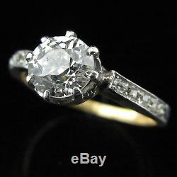 Antique Engagement Ring 1.4ct Old European Cut Diamond Platinum 18k Gold c1900