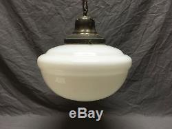 Antique Hanging Ceiling Light School House Bank Milk Glass Globe Old Vtg 572-18E