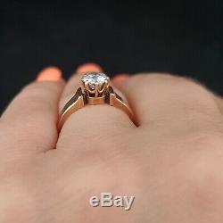 Antique Old European Cut Diamond 14k Yellow Gold Engagement Ring Engraved 1887