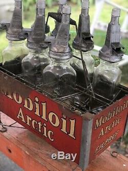 Antique Old Vintage Mobiloil Mobil Oil Arctic Filpruf Oil Bottle Rack Gas Statio