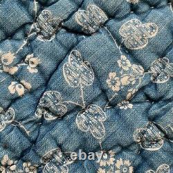 Antique Quilt Indigo resist French 18th century RARE textile vintage France old